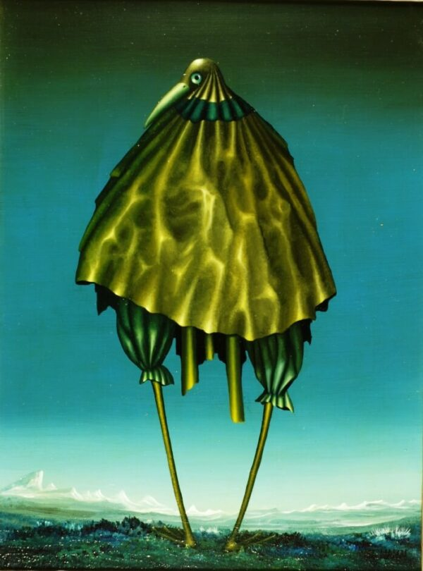 A surreal bird with a metal look is the focus of this painting. The white rocks in the background and the dominant night sky form the framework for the stilt bird. The stilt bird looks back and watches the viewer. The metallic plumage looks like a cape and the rays of the sun break on the edges of the stilt bird. The painting has a custom-made model frame.