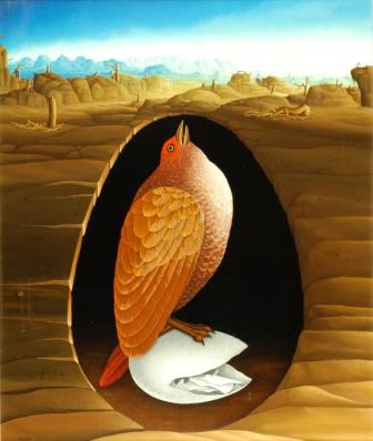 In the center of the painting is a bird sitting on an opened egg. The bird and the egg are in a cave