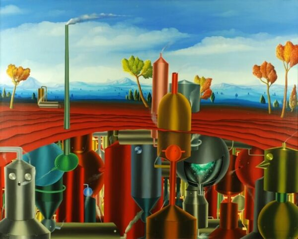 In the center of the painting is an insight into an underground cave with colorful kettles