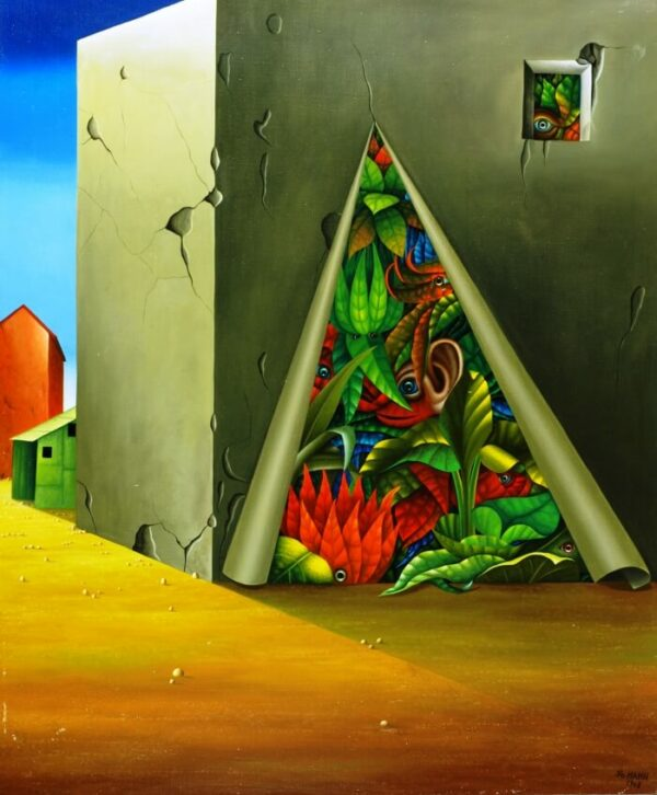 In a barren area there is a house in the form of a concrete cube. The facade of the house is just tearing open and revealing caged colorful plants and mythical creatures. Sometimes the plants reclaim the barren space. The painting is a symbol of the restricted and repressed nature