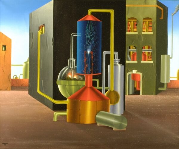 At the center of the picture is a distillation. In the background there are several factory buildings through whose windows you can see other plants. The distillation (boiler