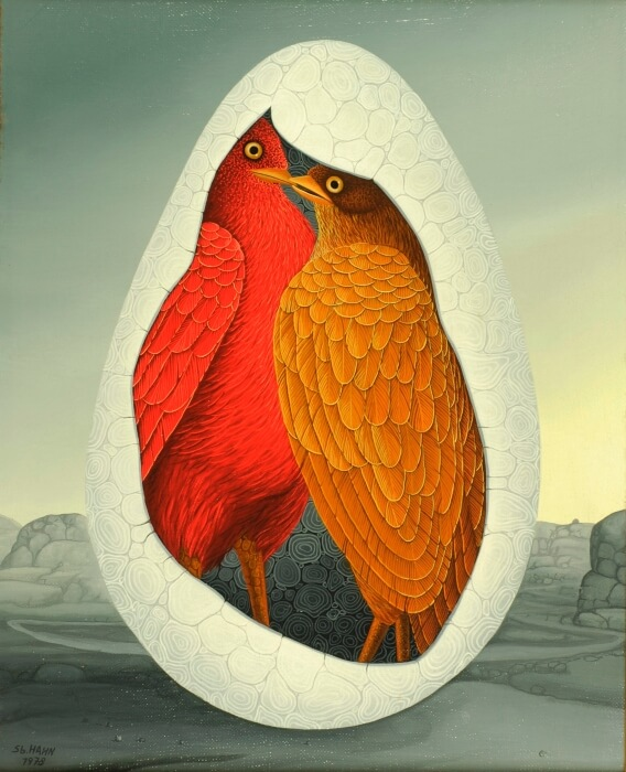 The focus of the painting is an egg in a gray landscape. There are two birds in this egg. In the egg