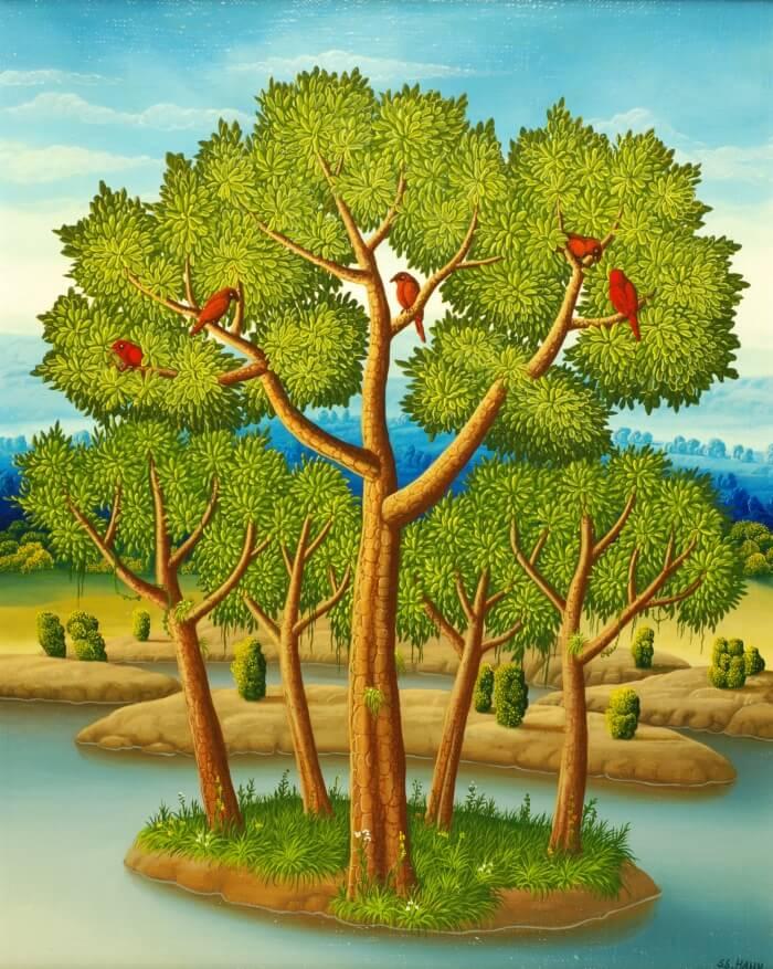 Kleine Bauminsel von Siegbert Hahn