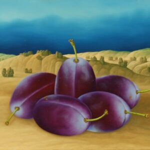 In this still life five plums play the main role. The very realistically painted plums in front of a landscape were painted in their original size. The 2: 1 picture division (sky to earth) contributes to the fact that the plums really stand out three-dimensionally. As a viewer