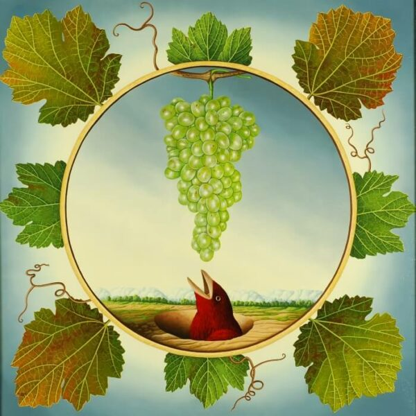 A bird stretches up from its protective hole in the ground and strives with its open beak towards the bright grape. The tondo is a circular picture painted into a square painting. The tondi is lined with extremely realistic painted grape leaves. The painting has a custom-made model frame with gold leaf applications and is dated and signed on the back.