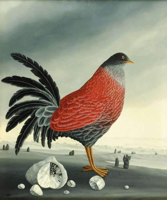 In the center of the oil painting is a large bird with magnificent plumage in various shades of gray and with red wings. Several stones of various sizes lie by its claws. The greyish landscape with few bushes and the gray sky make the magnificent bird shine even more imposingly. The painting has a custom-made model frame and is dated and signed on the front. The oil painting is titled