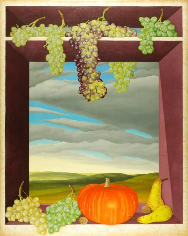 In the center of the painting are lifelike fruits (grapes
