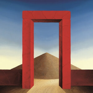 """The center of the picture is the red stone gate. The viewer looks back through the gate at a pile of sand. The sand heap stands for the """"time of passing"""" similar to an hourglass - here the hourglass of life. When all the stones have fallen"""