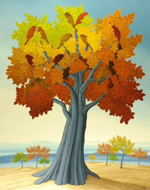 The focus is on a strong tree in front of a beautiful landscape. The gray tree trunk stretches upwards and forms an imposing treetop with the colored foliage. The autumn coloring of the leaves is clearly emphasized by the choice of light and bright colors. A group of birds has settled in the treetop. The oil painting has a custom-made model frame and is dated and signed on the front.