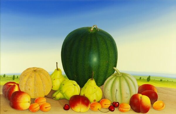The focus of the still life is on various melons and fruits (a total of two melons