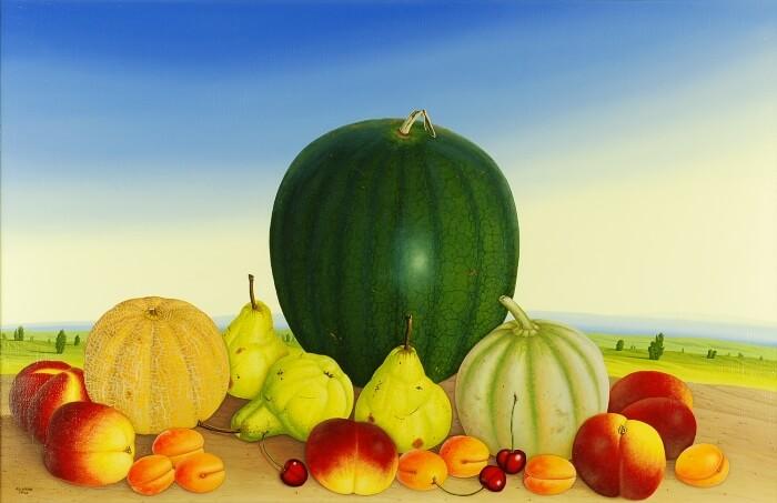 Stilleben mit drei Melonen von Siegbert Hahn