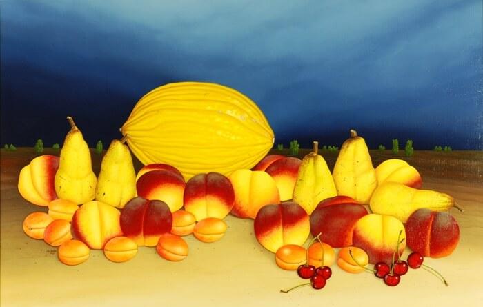 Stilleben mit gelber Melone von Siegbert Hahn