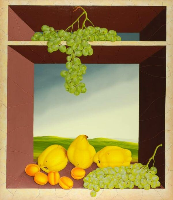 The still life presents fresh seasonal fruit in a marble showcase on two levels. In addition to three quinces