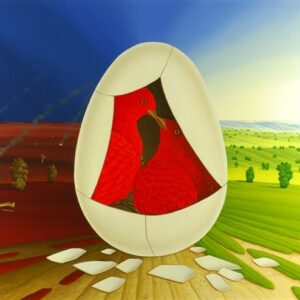 In the center of the oil painting are two red birds sitting together in a bursting egg. The broken shell lies in front of the egg. Half of the egg stands in front of the destroyed and half intact landscape. As soon as the birds leave the egg completely