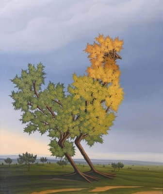 In the center of the oil painting is a bird. Or is it more like a tree? The bird gets its shape and form through branches and twigs. Or has the tree simply grown in such a way that it appears to us like a bird? The bird's autumn foliage forms the bird's plumage. The division of the image makes the bird appear impressive