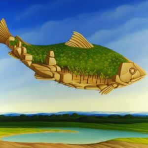 The focus of the painting is an imaginative fish that hovers over a large lake. The fish is made up of rocks and stones. Its scales are trees that form the whole body of the fish. The light blue sky and the division of the picture give the entire painting a very great depth