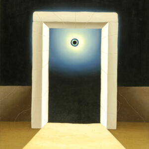 In the center of the picture is a white stone gate against a black background. In the center of the gate there is a magical eye that glows in the dark. The viewer looks through the gate that the dying person has to go through. The viewer remains in the dark as to what will be revealed after passing through the last gate. The painting has a custom-made model frame with a passepartout and is signed and dated on the front and back.