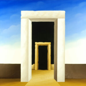 """In the center of the picture are two stone gates - the first and the last. The two gates symbolically stand for """"birth and death"""". This becomes particularly haunting as the way of life goes through one gate and is bounded by another gate. Due to the simple choice of colors and the layout"""