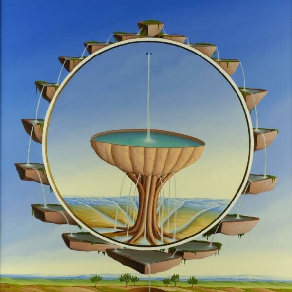 In the center of the picture is a water bowl as a symbolic source. The water source feeds the rivers in the landscape and donates valuable life. The classic tondi is framed by water cascades. The water comes from the universe and fulfills its life-giving purpose and then ultimately disappears into a hole in the earth. The painting has a custom-made model frame with gold leaf applications and is dated and signed on the back.