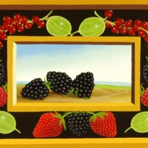 In the center of the picture are three blackberries in front of a landscape. The blackberries are framed by other summer berries (gooseberries