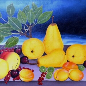 The still life with a pear branch consists of pears