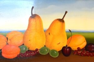 """The """"fruit still life"""" consists of pears"""