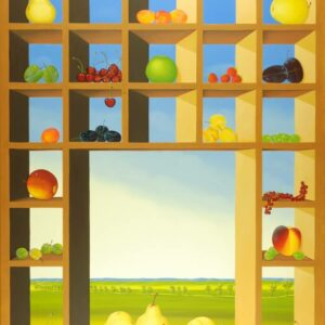 The oil painting is dominated by a large and bright type case. The individual boxes are filled with summer fruits. In the middle there is a larger window through which you can see a wide summer landscape in the background. The fruits (cherries