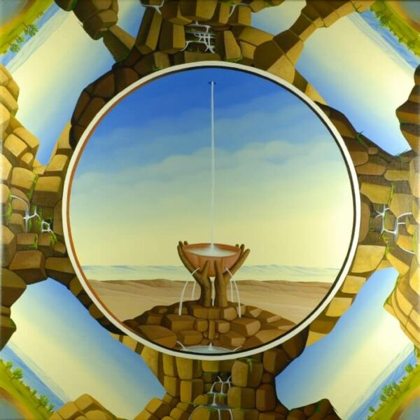 The painting is designed as a classic tondi. In the center of the tondo is a water bowl in which the water that comes out of nowhere collects. The bowl