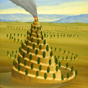 The focus of the picture is a smoking volcanic cone in a spacious landscape. The long way from the background of the picture up to the volcanic cone couldn't be more ambiguous and finally ends on the tip at the crater rim. The path of life is lined with bushes up to the chimney. The picture has a custom-made model frame with applications of gold leaf.