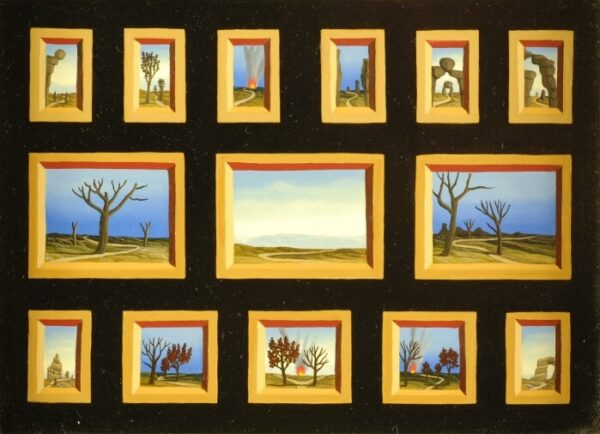 14 miniatures of landscapes and paths with rocks and trees. The individual pictures are hardly bigger than postage stamps. And yet there is so much to discover on it. The painting has a custom-made model frame with gold leaf applications. The picture is dated and signed on the back.