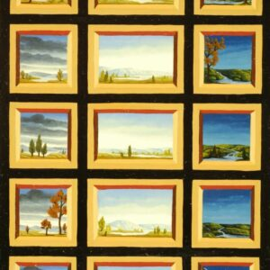 The oil painting consists of 15 miniatures of landscapes with rocks and trees. The viewer discovers different landscapes with rivers and trees in the small pictures. The landscapes are partly depicted in autumn and summer moods. All pictures radiate an impressive calm when looking at the landscapes. The painting has a custom-made model frame with applications of gold leaf. The painting is dated and signed on the reverse.