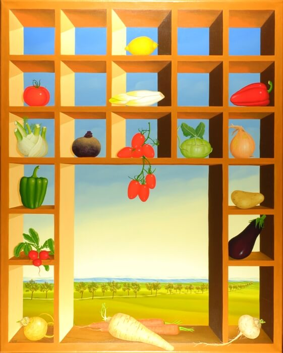 The oil painting is dominated by a large and bright type case. The individual boxes are stocked with summer vegetables. In the middle there is a larger window through which you can see a wide summer landscape. The vegetables (peppers