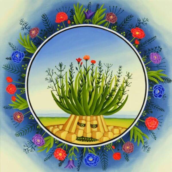"The focus of the tondo is the ""plant spirit"""