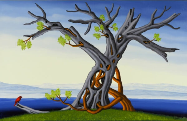 In the center of the painting are an old and a young tree. This old