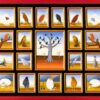 """The painting """"Vogelwelt"""" depicts different birds and situations in the life of the birds. In the center of the oil painting is a leafless tree in a desolate landscape. 11 black birds sit on the branches of the tree. The inner painting is framed by 19 miniatures. The painting has a custom-made model frame and is titled"""
