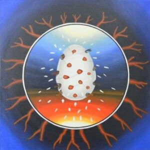 The square painting with a circular image painted into it is a classic tondo. The outside area of the Tondo is lined with dead trees. In the center of the tondo is an egg from which numerous birds hatch instantly. Eyes