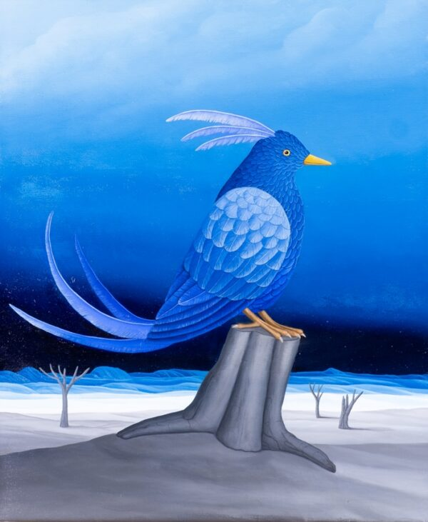 In the center of the oil painting is a proud blue bird sitting on a tree trunk. The gray and lifeless landscape and the dark blue night sky underline the imposing appearance of the dream bird. Its wonderful tail feathers and its beautiful headdress