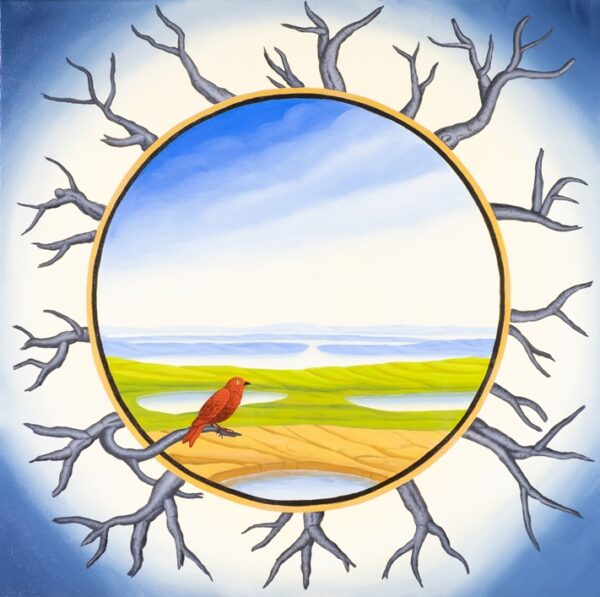 The square painting with a circular image painted into it is a classic tondo. The outside area of the tondo is lined with dead trees. A little bird sits on a branch and looks longingly into the picture of a peaceful landscape with lakes. The bird hesitates and does not dare to fly into the panorama.