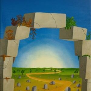 At the center of the picture is a long and lonely path. At the end of the path is the horizon and the rising sun. In the foreground of the picture is a rock arch through which we can see the lonely path and a summer landscape. Small green plants and lichens grow on the rock arch. The oil painting has a custom-made model frame and is titled